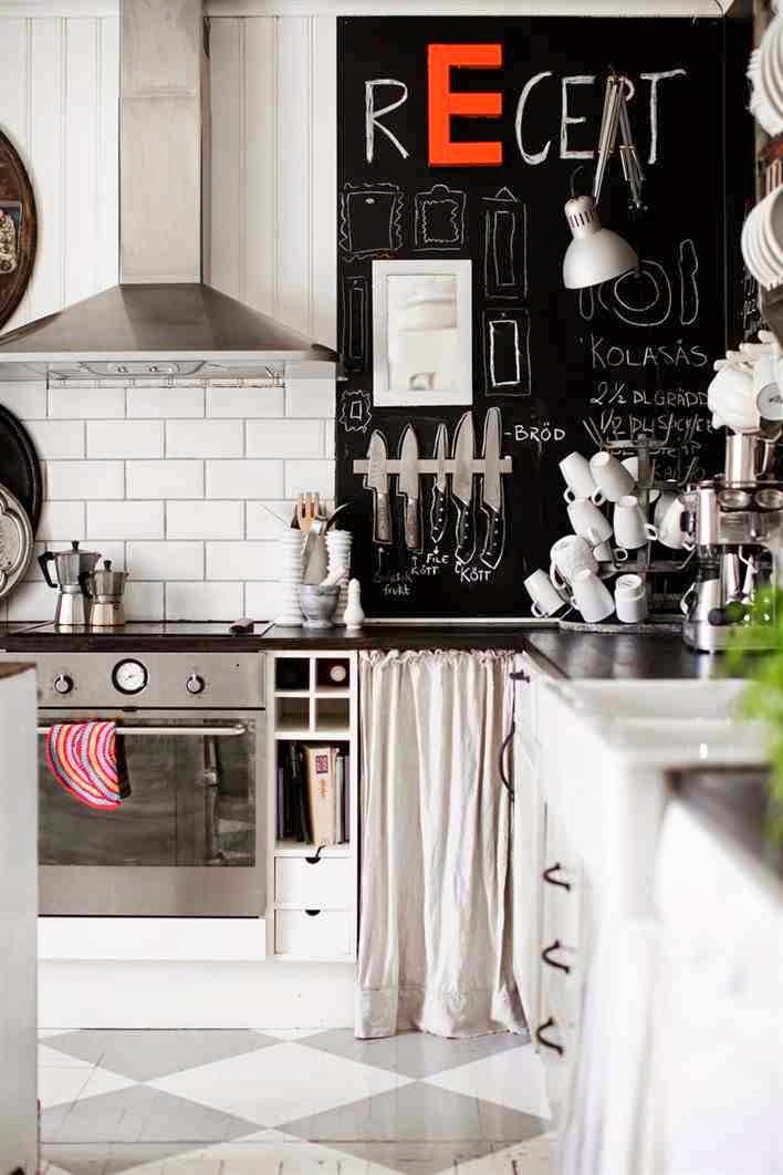 Farba tablicowa w kuchni, ściana pomalowana farbą tablicową w kuchni, biała kuchnia, eklektyczne dodatki