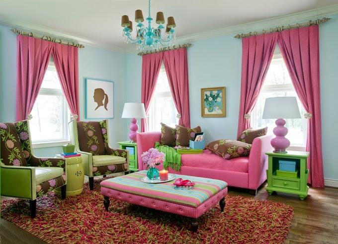 desain ruang tamu warna pink