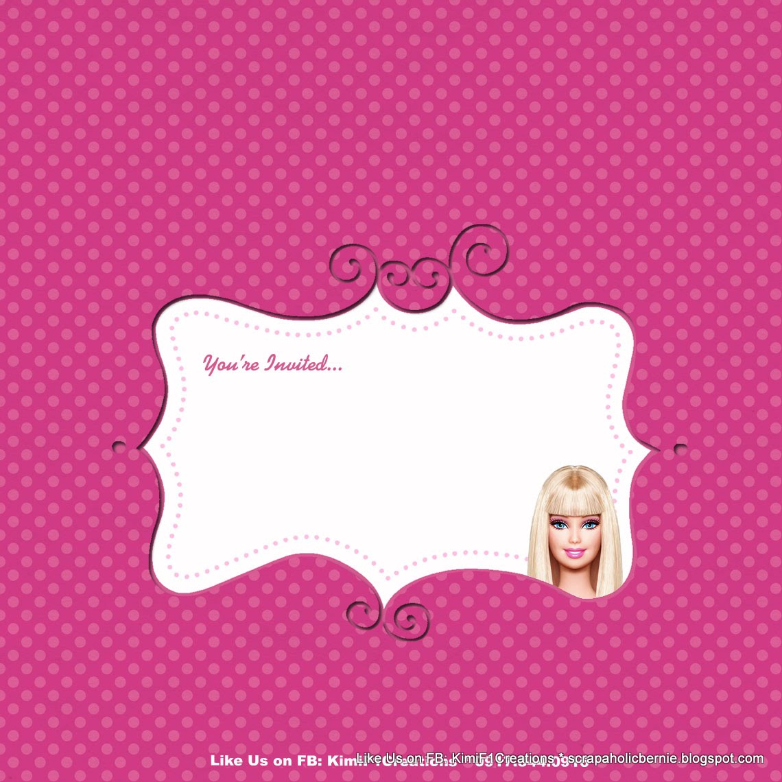 F1 Digital Scrapaholic Barbie Exploding Box Invitation