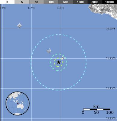 Epicentro sismo de 5.8 grados en el sur de Sumbawa, en Indonesia, 21 de Noviembre 2012