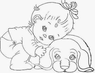 desenho bebe menina com cachorro para pintar
