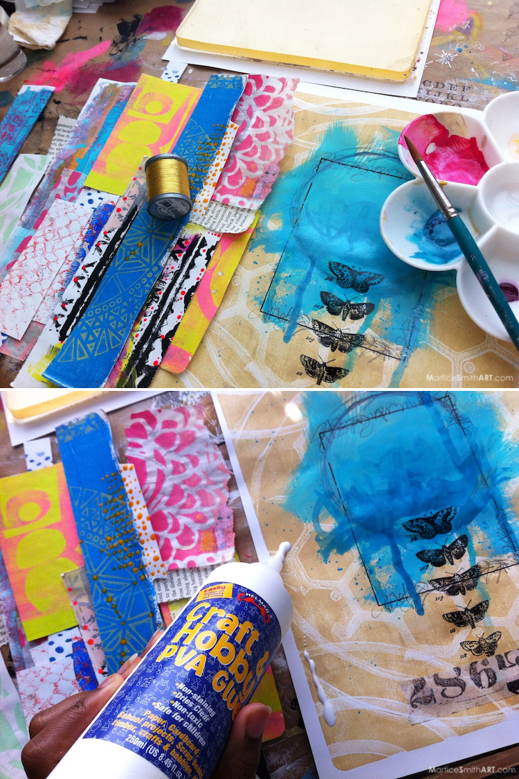 Monoprinted Scrap Collage   Tutorial by Martice Smith II (http://bit.ly/PaperScrapCollage)