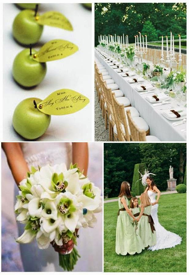 Green and white wedding theme for White themed wedding decorations