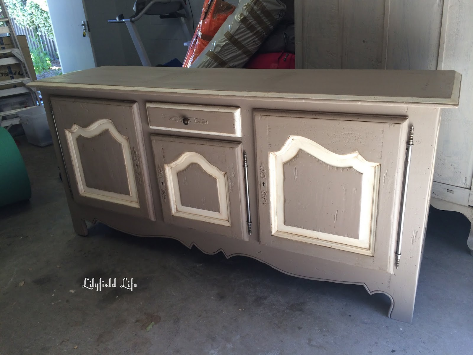 Hand painted vintage french oak sideboard by Lilyfield Life
