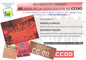 """Acto: """"40 Años de la legalización de CC.OO."""""""