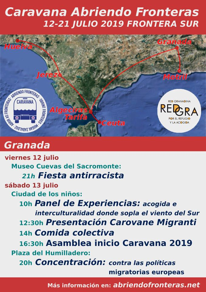 Llega a GRANADA: Caravana Abriendo Fronteras. 12-21 julio 2019 Frontera Sur