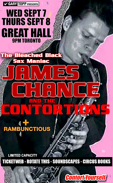 James Chance @ Great Hall, Sept 7 & 8
