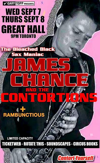 James Chance @ Great Hall, Sept 7 & 8