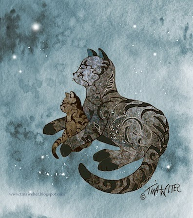 """Heavenly Night"" Mother cat and kitten, 6""x5.5"" mixed media, digital ©2015 Tina M Welter"