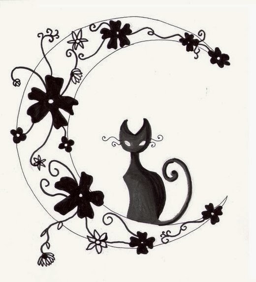Cat on the moon and flowers tattoo stencil