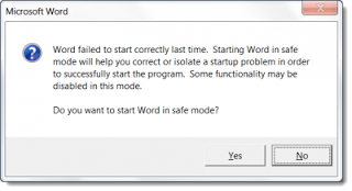 tampilan akan mengakses safe mode ms word