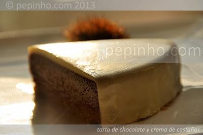 Tarta de chocolate y crema de castañas