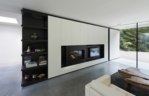 Photo of modern minimalist living room interiors with black and white furniture