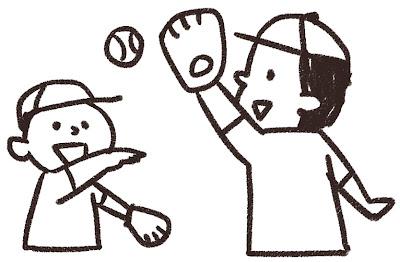 キャッチボールのイラスト 白黒線画