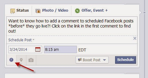 Ever wondered if there was a way to add your blog post's link in the comments of scheduled Facebook posts? Then check out this awesome trick! #blogger #facebook #bloggingtips