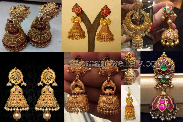 Antique Temple jhumkas with Lakshmi
