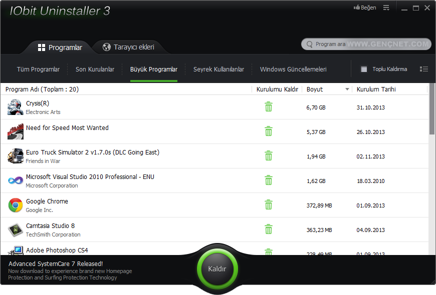 IObit Uninstaller 3.0.4.922 Full Tek Link Tam İndir