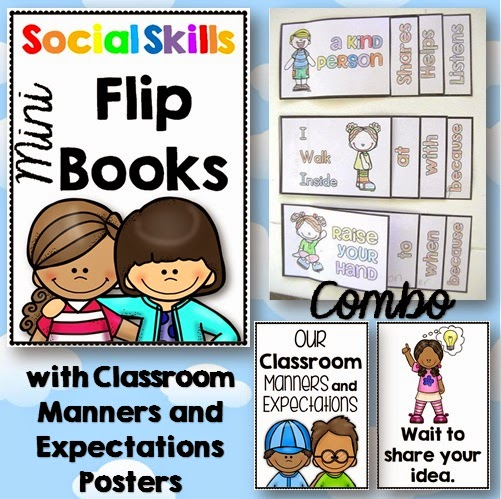Social Skills Flippy Books with Manners/Expectations Posters COMBO  Developing desired expectations both at the beginning of the year and throughout is a vital foundation in any classroom.  This is great for using as a back to school and a yearlong project.