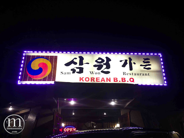 Sam Won Korean Restaurant signage at night
