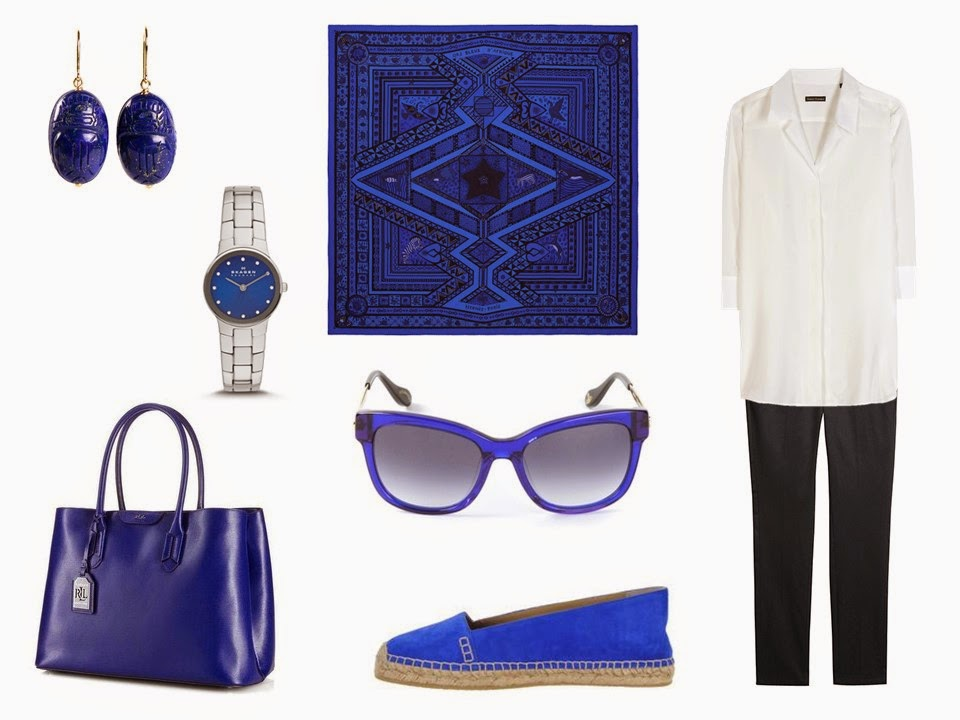 navy and white outfit with bright cobalt blue accessories