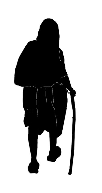 silhouette of old woman in sari