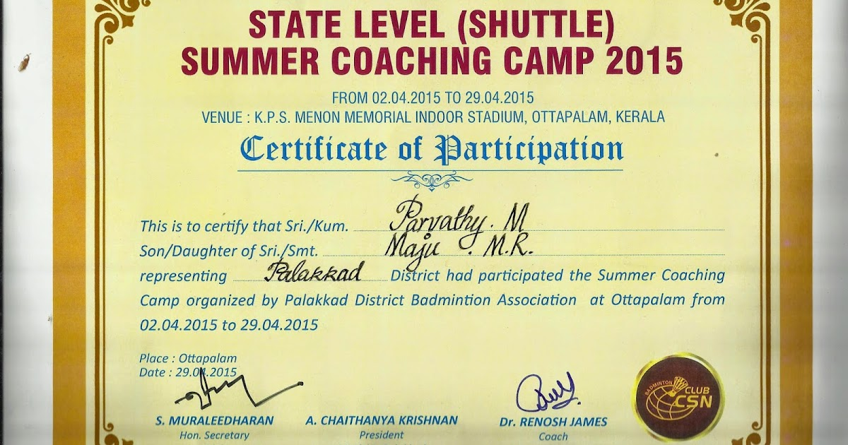 state level shuttle summer coaching camp 2015 participation