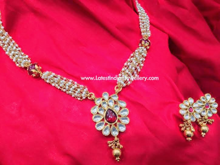 Pearl Kundan Necklace in Gold