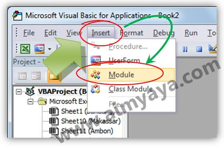 Gambar: Menyisipkan modul di di Microsoft VisualBasic for Application