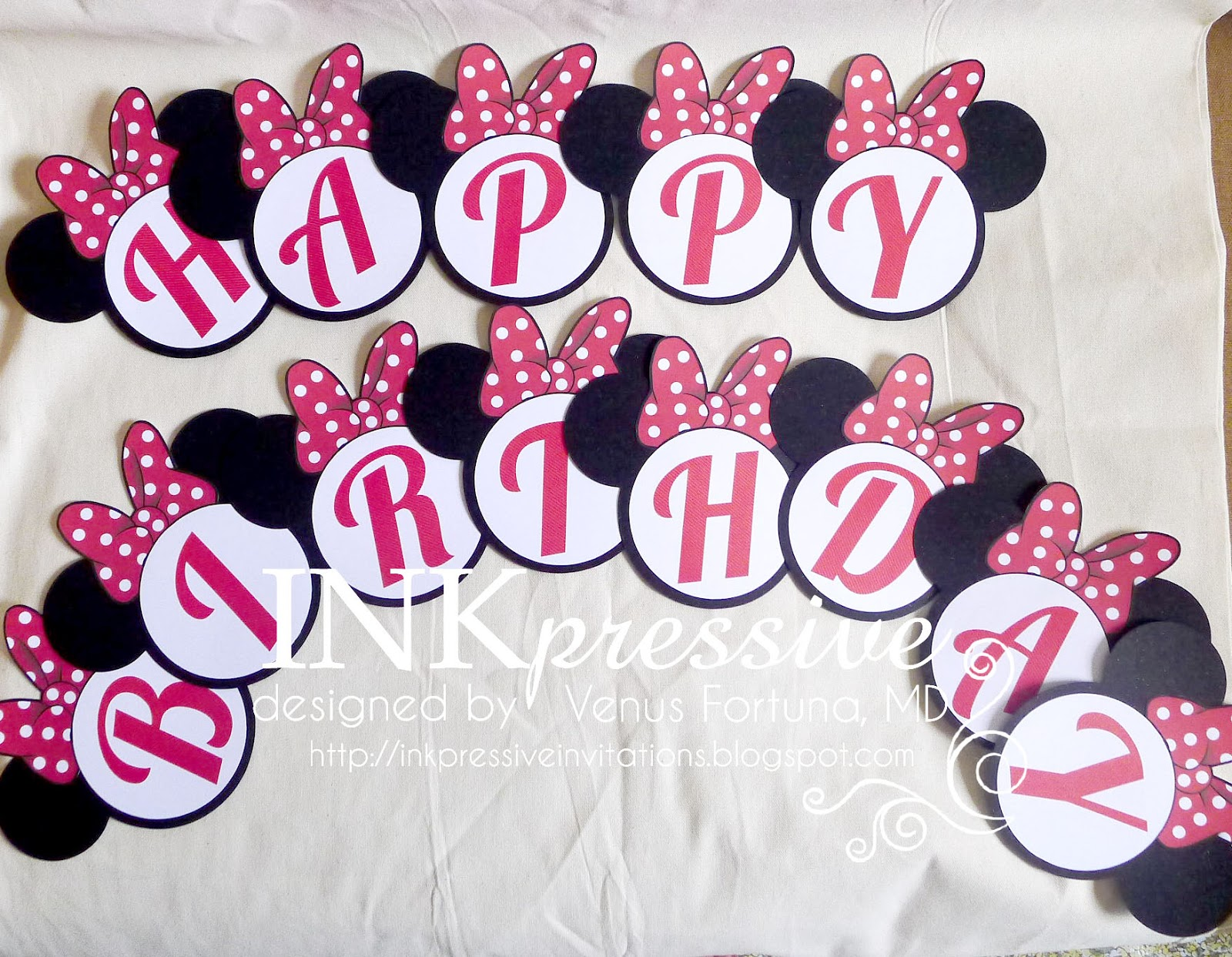 The Letters Are Machine Cut And Adhered On White Circle Mat Finally Black Minnie Mouse Head Then Ribbon Was