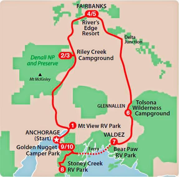 Ruteforslag til tur i motorhome i Alaska
