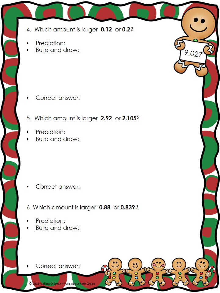 Decimal Math Activities for the week before Christmas Break and a ...