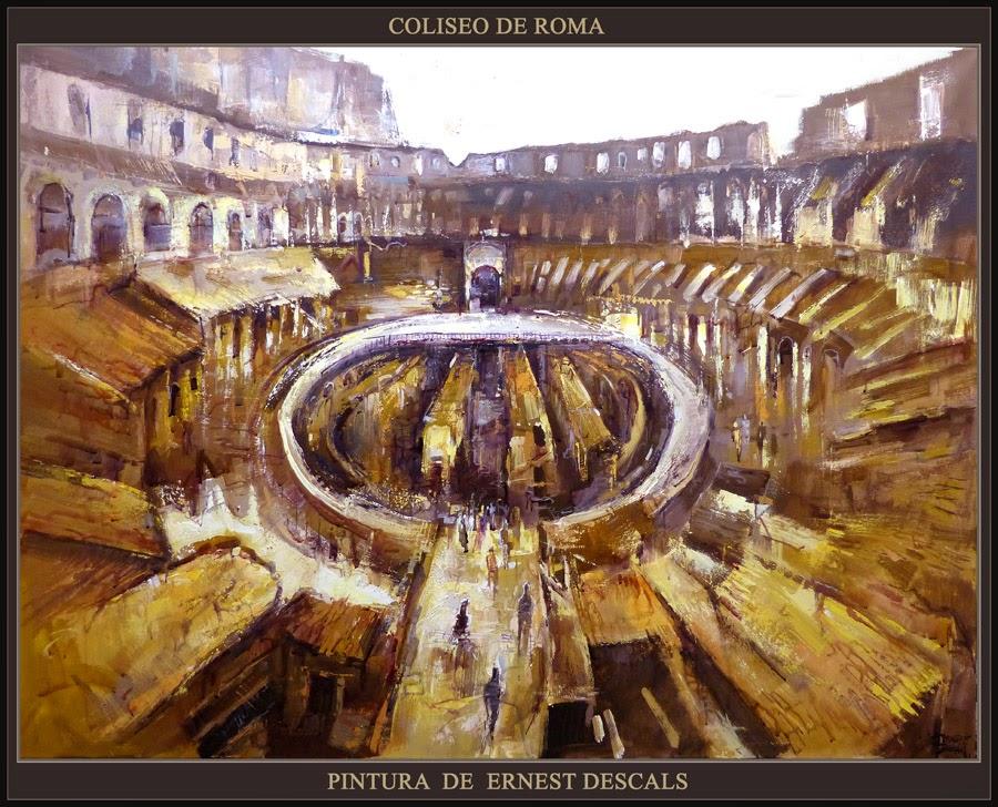 COLISEO-ROMA-PINTURA-ARTE-HISTORIA-IMPERIO ROMANO-CUADROS-ITALIA-ARTISTA-PINTOR-ERNEST DESCALS-