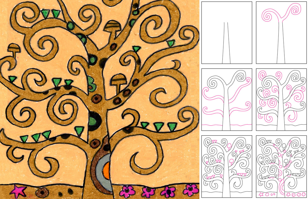 draw klimt�s tree of life art projects for kids