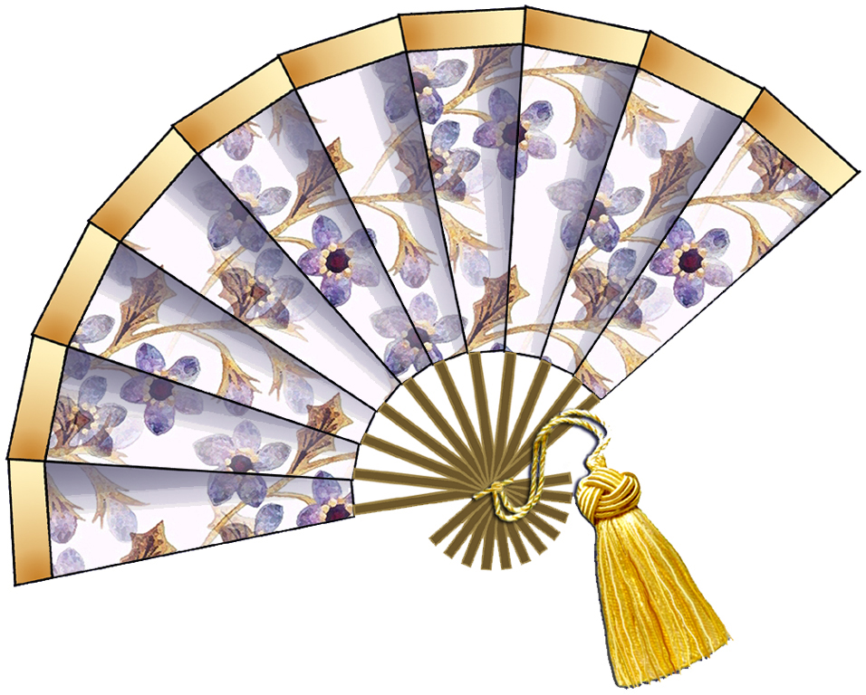 Artbyjean Purple Wood Roses Fashion Fans Clip Art