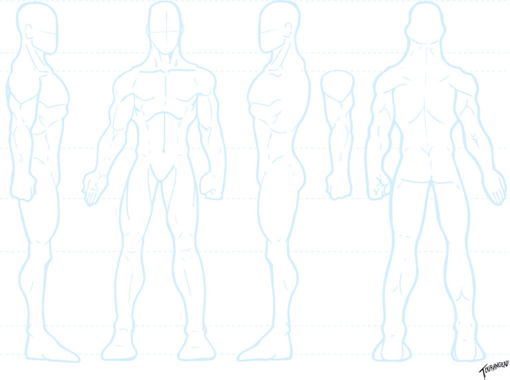 Comic Book Character Design Template : The art of sean tourangeau blank male turnround template