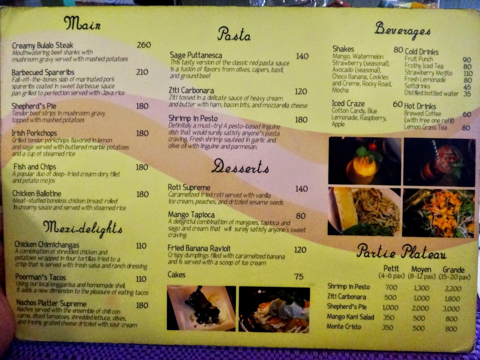 Cafe Sage Hill Menu