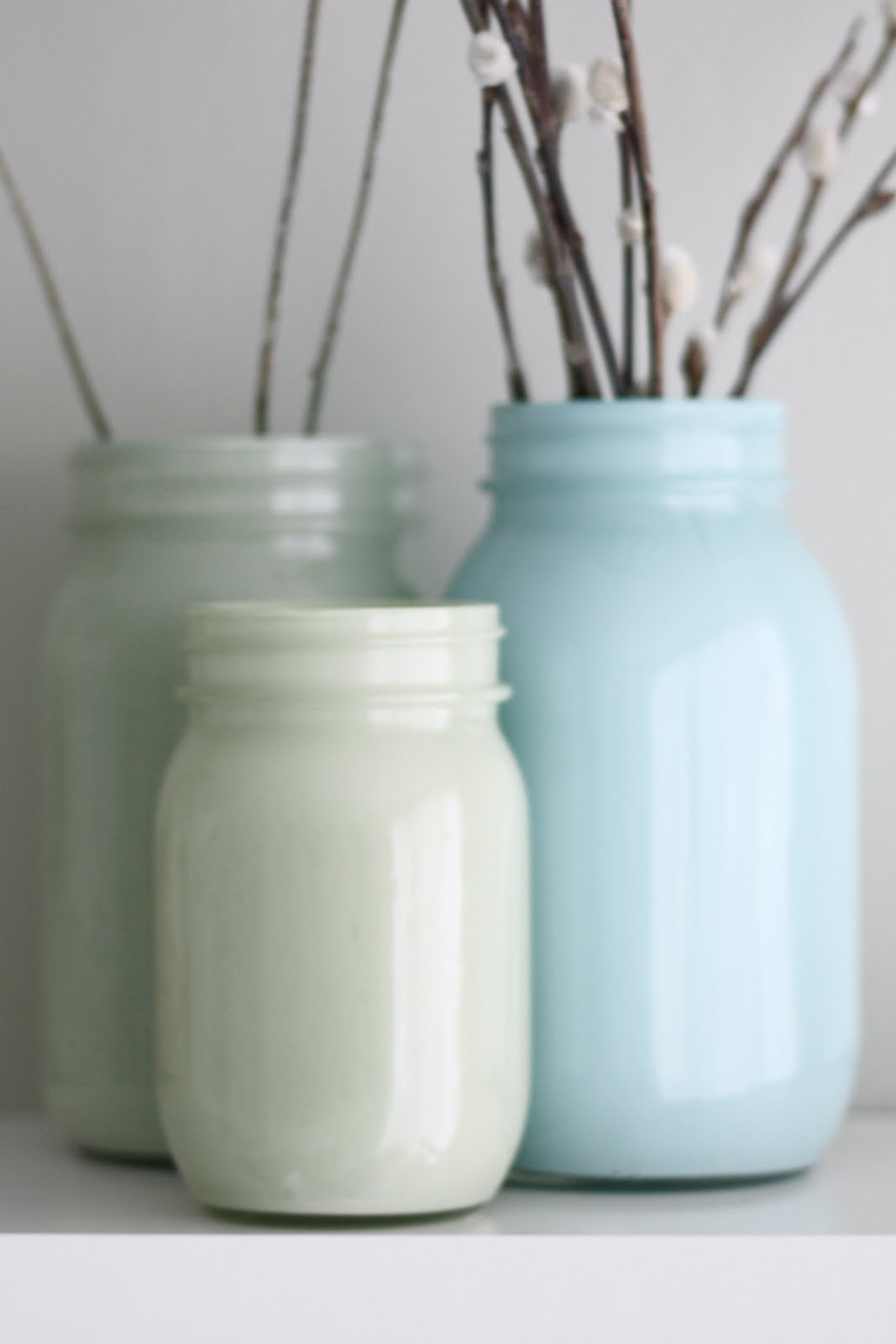Craftedbylindy diy pretty painted glass jars for How to paint glass bottles