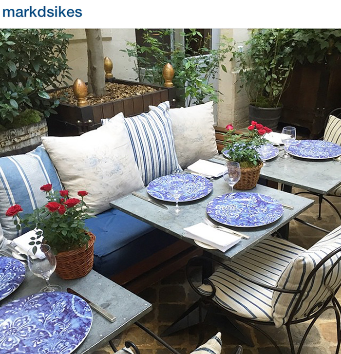 Blue and white everything at The Polo Bar, Ralph Lauren's restaurant, via Mark D. Sikes Instagram.