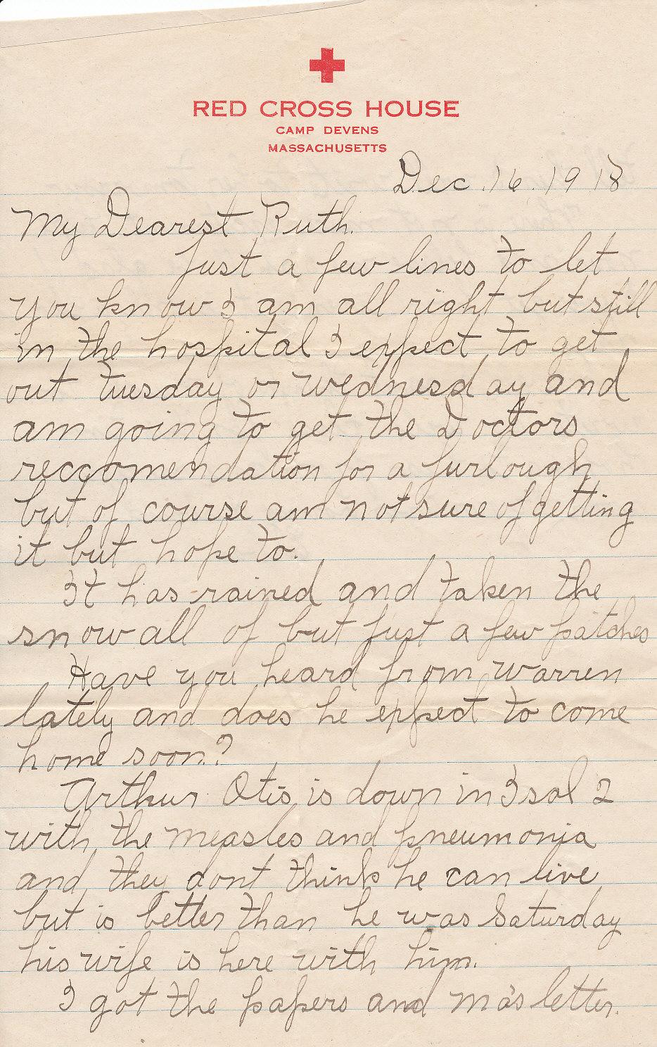 wwi letters wwi soldier letter camp devens december 16 1918