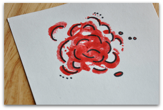 celery heart stamp flower painted