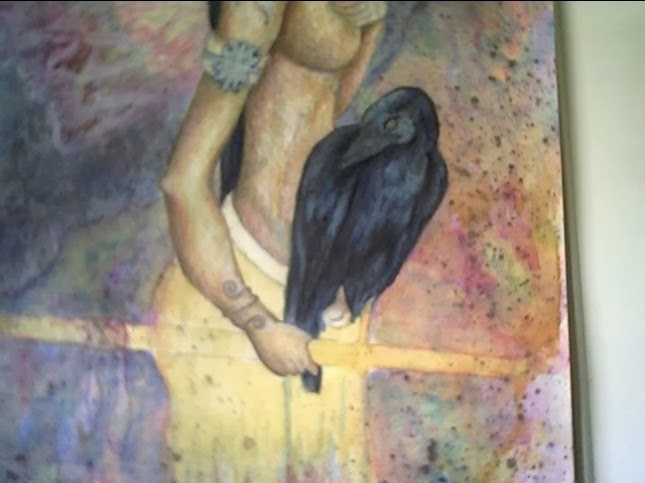 Portion of a painting with raven by Tree Pruitt.