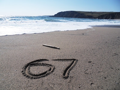 67 on the beach at Pentewan, Cornwall