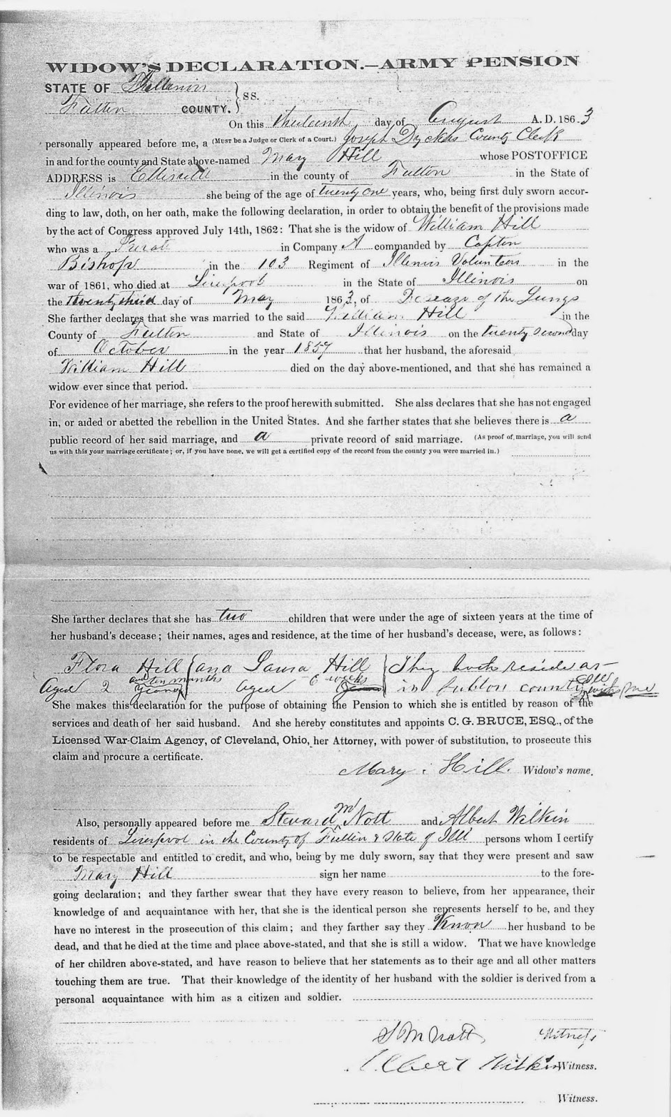 Ancestorpuzzles may 2015 1863 08 13 hedge mary widows declaration army pension aiddatafo Images