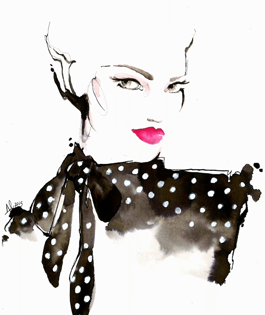 ink fashion illustration polka dot lips - Alessia Landi