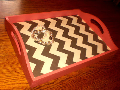 Coral Zigzag Painted Tray