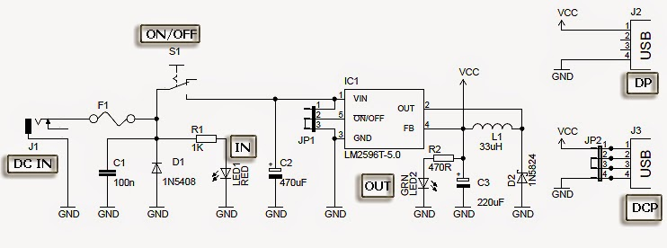 Scr 12v to 5v usb converter schematic 3 wire center electronic project usb car charger with lm2596 rh bestelectronicproject blogspot com ccuart Choice Image