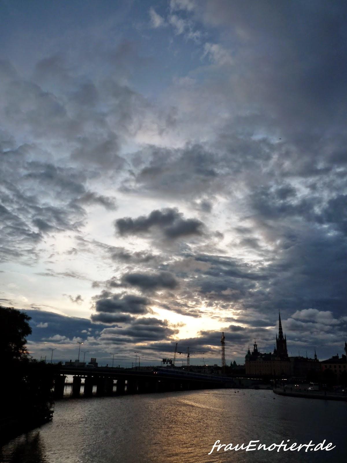 Stockholm, Schweden, Söder Mälarstrand, Södermalm, Sonnenuntergang