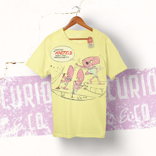 What part of minefield don't they understand?!? - retro T-Shirt - Mantagons - octopus character from Spaceman Jax - illustration by Cesare Asaro - Curio & Co. (Curio and Co. OG - www.curioandco.com)