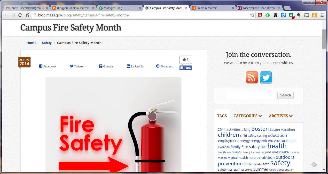 MA.gov blog on fire safety