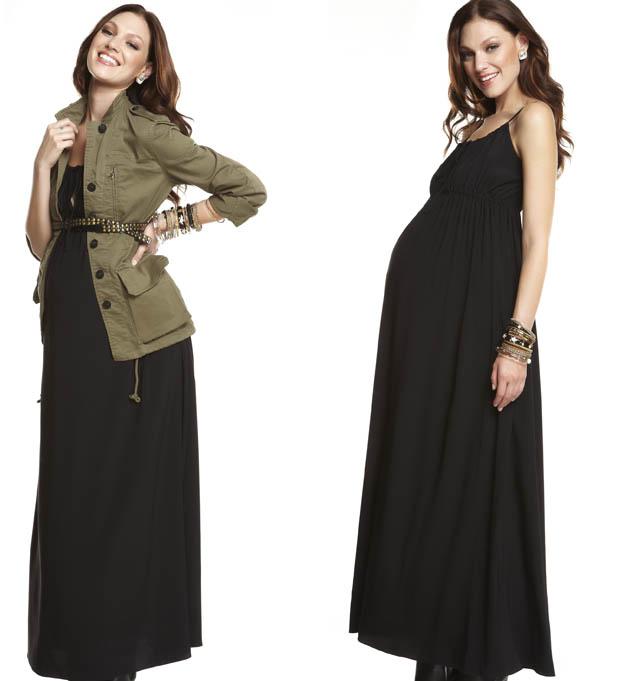 Vestido negro largo para embarazada